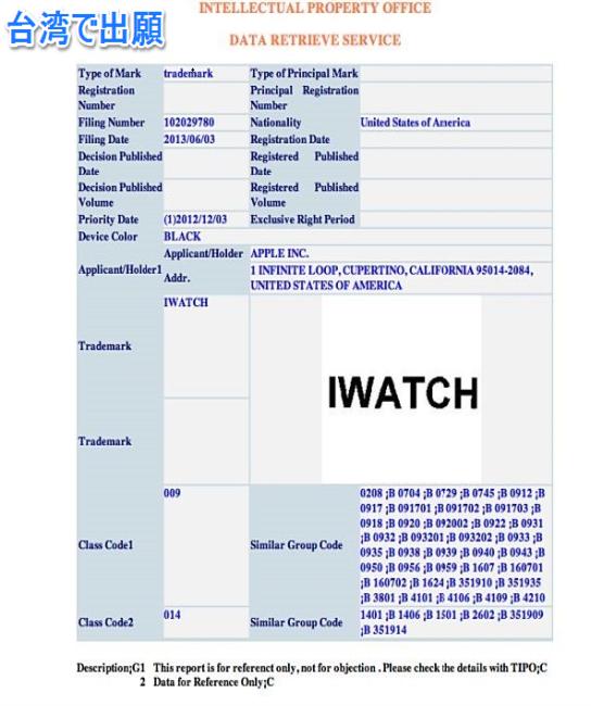 iwatch商標出願